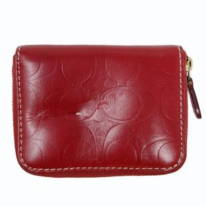 Coach Wallet Leather Red Zip Closure Pockets